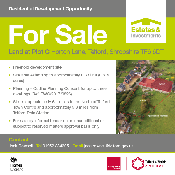 Plot C Lot 2, Horton Lane - Tender deadline date 12:00pm Wednesday 3rd June 2020 -